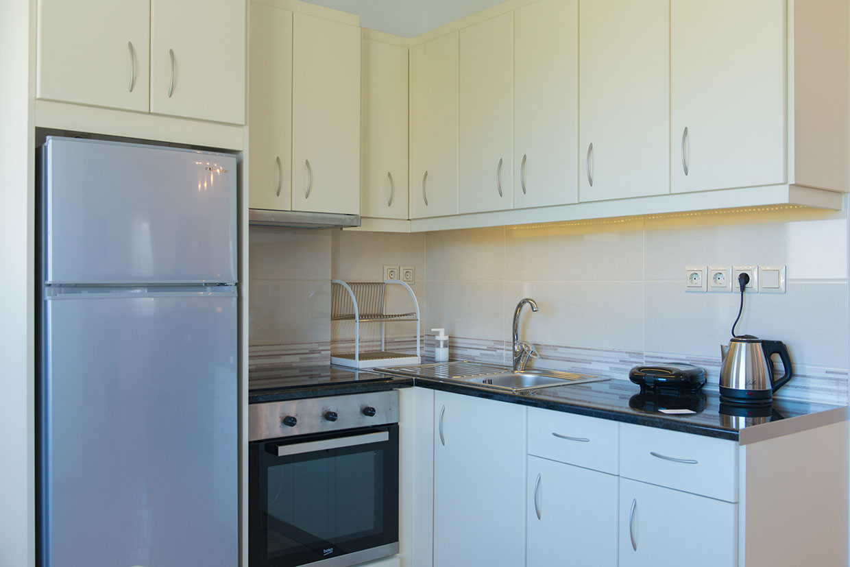 Fully equipped kitchen at Kipos suite in Sifnos